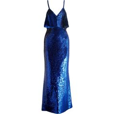 AshishSequined Silk Gown (31,065 GTQ) ❤ liked on Polyvore featuring dresses, gowns, royal blue and ashish