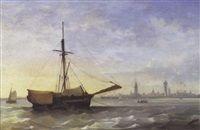 """""""Schepen voor de haven van Oostende"""",   by Désiré Donny"""