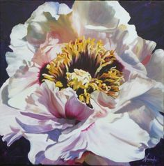 Positive thinking- I was inspired to paint this flamboyant tree peony, when a sunlight on a cloudy day illuminated it's pink and white petals, bringing hopeful thoughts and bright ideas to mind.  Acrylic on canvas flower painting by Anita Nowinska