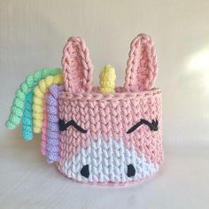 Crochet basket Unicorn