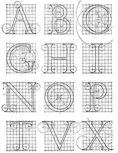 Alphabet after Sebastian Serlio (1473-1554). Reconstructed by Albert R. Ross.