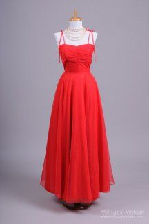 1970's Shimmery Red Chiffon Vintage Evening Gown