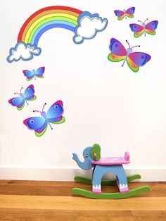 rainbow and butterfly wall stickers by chickp | notonthehighstreet.com