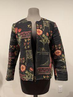 Excited to share this item from my #etsy shop: Floral Tapestry Waistline Jacket Crew Neck Zip Up Lightweight Jacket Red Orange Yellow Green Black Colors Designer Gerd Inez Designer Sweden