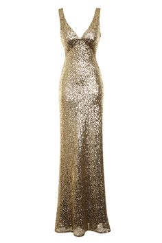 NAZZ COLLECTION MARILYN GOLD SEQUIN LONG FISHTAIL MAXI DRESS - Nazz Collection