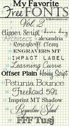 Favorite #free #fonts, vol. 2 | Hand Times, Susie's Hand, Castellar, Altast Greeting, Clipper Script, Doris Day, Architect, Alexandria (Baskerville Old Face), Rosenkrift Clean, Engravers MT, Impact Label, Learning Curve, Offset Plain, Honey Script, Petunia Bounce, Freehand 591, Imprint MT Shadow, Respective Slant, FFF Tusj