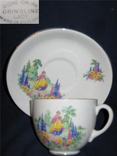 VINTAGE ENGLISH BONE CHINA CUP & SAUCER CRINOLINE LADY