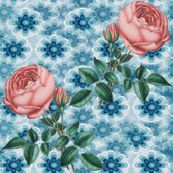 blue flowers -pink rose - krs_expressions - Spoonflower fabric