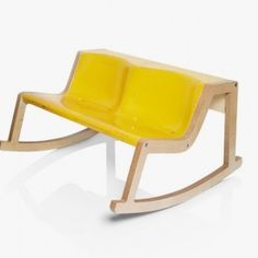 yellow Unique Rocking Bench with Modest Wood Frame