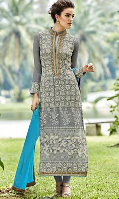 Georgette Top Salwar Kameez With Chiffon Dupatta 7001 – Fashions By India