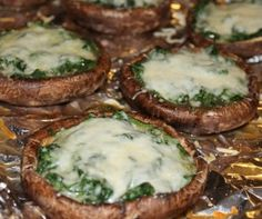 Stuffed Portabello Mushrooms with spinach and cheese - easy appetizer recipe!
