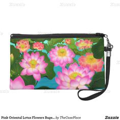 Pink Oriental Lotus Flowers Bagettes Wristlet  #gifts  #forher