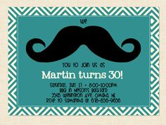 Men's birthday Invitation Mustache Printable by BusyChickadees