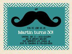 Men's birthday Invitation Mustache Printable by BusyChickadees