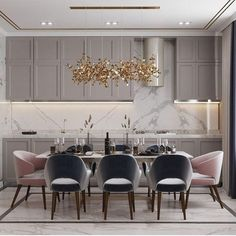 38 Modern room and interior design. Clean lines and muted soft colors ~ Home of Magazine Minimalist Dining Room, Luxury Dining Room, Dining Room Design, Luxury Home Decor, Dining Room Inspiration, Home Decor Kitchen, House Interior, Luxury Kitchen Design, Modern Dining Room
