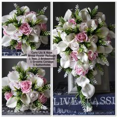 BRIDAL FLOWER PACKAGE - Artificial Calla Lily & Astilbe Tear- 9 piece collection- 1 brides tear, 2 bouquets, 1 Groom + 5 buttonholes Wedding Flower Packages, Uk Bride, Pink Color Schemes, Flower Packaging, Pink Wedding Theme, Astilbe, Bridal Flowers, Calla Lily, Buttonholes