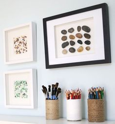 Framed Pebbles and Sea Glass