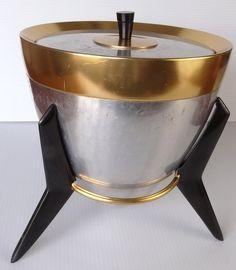 Vintage Mid Century Bullet Aluminum and Copper Ice Bucket  Eames, Atomic Era