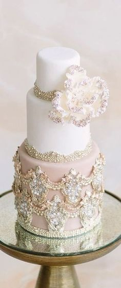 Blush and white wedding cake with beautiful bling!