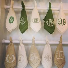 Mix of monograms - love this idea for dinner party layout. Alternating color napkins as well.