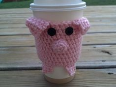 Crocheted Pop up Latte Little Pink Pig Piggie Coffee Cup Cozy with little pig tail fit great with Starbucks cup. $13.50, via Etsy.