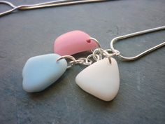 Sea Glass Necklace Trio of Pastels