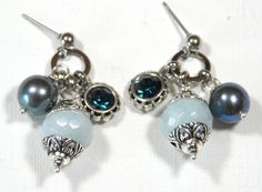 Blue Aquamarine, freshwater pearl & Swarovski earrings with studs | designsbyAtenea - Jewelry on ArtFire
