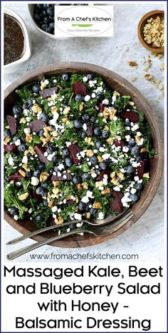 Massaged Kale, Beet and Blueberry Salad with Honey - Balsamic Dressing is the perfect kale lover's salad and may even convert a couple of kale cynics! #kale #kalesalad #salad Beet Salad Recipes, Kale Recipes, Supper Recipes, Best Low Carb Recipes, Healthy Recipes, Healthy Eats, Honey Balsamic Dressing, Massaged Kale Salad, Salads