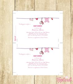 Pink Baby Shower Invitations Glitter Baby Shower Invites Printable Invitations with Clothes on Hanger Instant Download 0068A TppCards by TppCardS #tppcards #printable #invitations