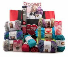 Enter to win this amazing Yarn Prize Package from Red Heart Yarns through AllFreeKnitting! This awesome package includes $150 worth of yarn and crochet supplies nestled in an adorable tote bag!