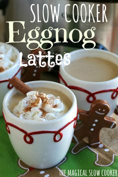 This recipe for Slow Cooker Eggnog Lattes is such a fun different way than hot cocoa. Perfect for a holiday get-together or work parties. - Yummy, but needs way more coffee than it calls for. I used a quart of eggnog, and about 6 cups of coffee. Christmas Drinks, Holiday Drinks, Noel Christmas, Holiday Recipes, Christmas Recipes, Christmas Cooking, Christmas Sweets, Christmas Parties, Winter Recipes