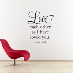 """Love Wall Decal - Bible Verse Decal - Love Each Other Wall Art - Christian Wall Sticker - Large. The Love Each Other Wall Decal is available in the color of your choice. See the color chart for your options. The photographs are for a reference be sure to use the measurements when ordering. Size - 23"""" wide by 28.5"""" high ."""