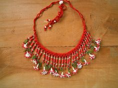 red necklace with white flowers by PashaBodrum on Etsy