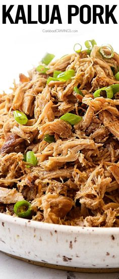 Succulent, juicy, melt-in-your-mouth tender Kalua Pork (Kalua Pig) is the famous luau style pork that's big on flavor but low on effort! It's so easy to make at home in the slow cooker, pressure cooker or oven! #crockpot #crockpotrecipes #slowcooker #slowcookerrecipes #pork #porkrecipes #porkshoulder #porkbutt #kaulapork #kaluapig #shredded pork #dinner #dinnerrecipes #dinnerideas #dinnertime #easyrecipe #easydinner Pork Recipes, Slow Cooker Recipes, Pork Meals, Crockpot Recipes, Easy Recipes, Kalua Pork Slow Cooker, Carlsbad Cravings, Light Recipes, Pulled Pork