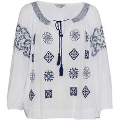 Great Plains Benicassim Embroidered Blouse - Optic White & Petrol Blue ($77) ❤ liked on Polyvore featuring tops, blouses, boho blouse, embellished blouse, white embroidered top, white boho top and blue blouse