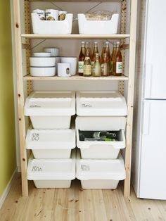 IKEA labeled stackable recycling bins, pantry shelf