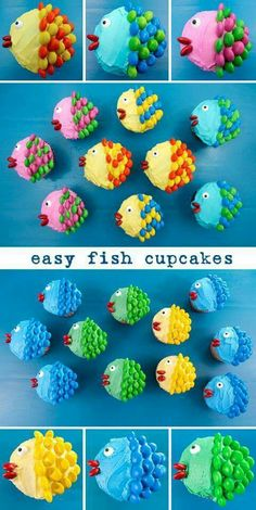 Easy Fish Cupcakes - pretty, colorful, yummy and very easy to make. We promise, anyone can do it! All you need are cupcakes, frosting and M&M's. Cupcakes Cool, Beach Theme Cupcakes, Birthday Cupcakes, Party Cupcakes, Easy Animal Cupcakes, Beach Themed Desserts, Summer Themed Cupcakes, Beach Ball Cupcakes, Beach Dessert