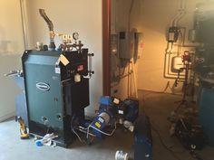 The halfway installed boiler.