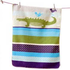 Babydecke Juwel Krokodil und Vogel pacific 70x90 cm - David Fussenegger #blanket #spread #quilt #cotton #baby #crocodile