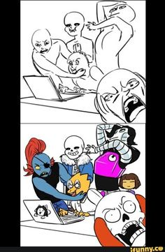 """lol frisk just standing there.<<Frisk just,, poof""""out of nothing in the second picture😂 Undertale Memes, Undertale Fanart, Undertale Comic, Mettaton Ex, Frisk, Draw The Squad, Underswap, Bendy And The Ink Machine, The Villain"""