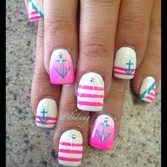 Want it without the anchors.   Instagram photo by dndang #nail #nails #nailart
