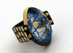 Maria Frantzi Ring in silver and 18ct gold with Mokume-gane set with a crystal and azurite doublet and brown diamonds Kath Libbert Jewellery Gallery - Weddings