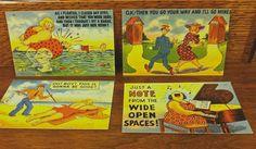 Four 1940s Humorous Vintage Postcards Unused by ScarlettsFancies, $12.00