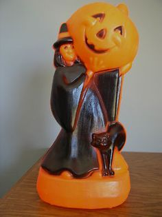 Vintage Halloween Blow Mold ~ Witch Pumpkin w/ Jack O' Lantern & Black Cat