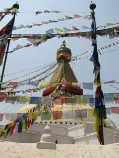 Lung ta prayer flags at Boudhanath stupa in Kathmandu