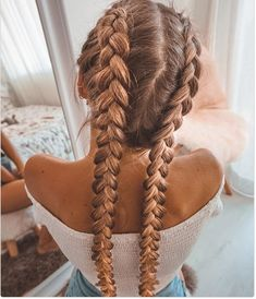 52 Pretty Chic Braided Hairstyles For Every Hair Type - Hair & Beauty - Two Braid Hairstyles, Cute Hairstyles For Teens, Easy Hairstyles For Long Hair, Braids For Long Hair, Pretty Hairstyles, Braided Hairstyles For School, Hairstyle Braid, Teenage Hairstyles, Hairstyles Videos