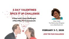 Join this FUN challenge!  These daily challenges are to engage your partner in a positive way and to start to have FUN together again.  Great for singles too!  Spice it Up 🔥  #valentines #love #romance #free #fun #relationships #couples #singles #relationshipadvice