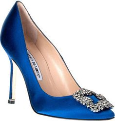 Wow!  Bridal Beauty Detroit  loves these ShopStyle: Manolo Blahnik Hangisi satin pump Something Blue CLASSIC