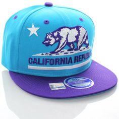 Amazon.com: California Republic Flat Bill Vintage Style Snapback Hat Cap Teal Purple: Clothing