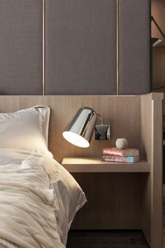Custom Built In - Modern Interior - Bedside Table - Upholstered Wall - Bedroom Furniture - Home Ideas